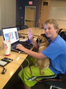 Sean at ThoughtSTEM with his pug Jez.