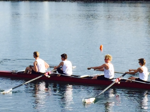 There the Freshman 4 are in the boat. Jim and I are chaperoning one of the races in April, 2015