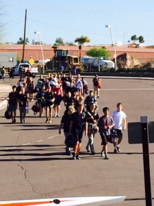 The kids rode in a bus to Tempe, Arizona. Jim and I drove.