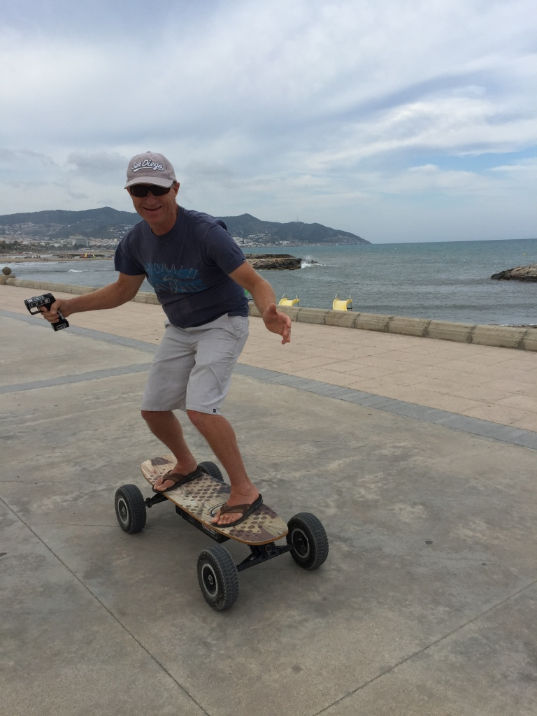 The skateboard goes about 20 km per hour!