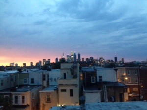 The night sky of Philly from the roof of our VRBO.